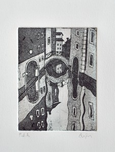 venice bridge etching