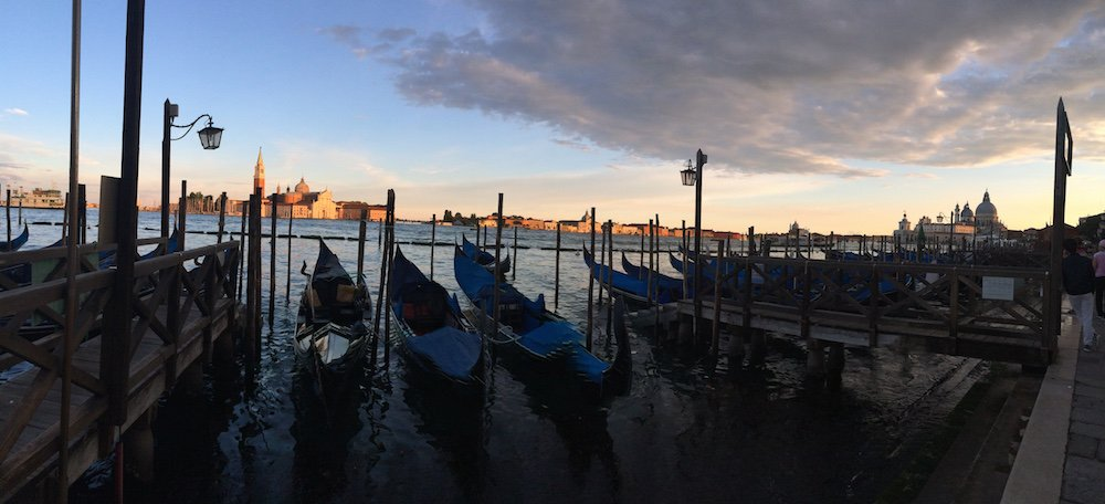 Venice Sunset w Gondolas Panorama - Photo by Victoria De Maio